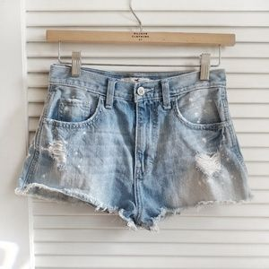 hollister high rise cutoff distressed denim shorts